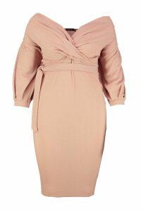 Womens Plus Off The Shoulder Wrap Midi Dress - beige - 20, Beige