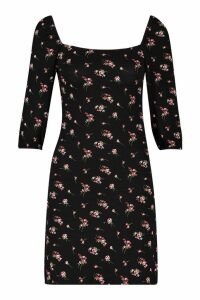 Womens Petite Floral Square Neck Long Sleeve Shift Dress - black - 14, Black