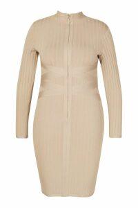 Womens Plus Sculpting High Neck Midi Dress - beige - 20, Beige