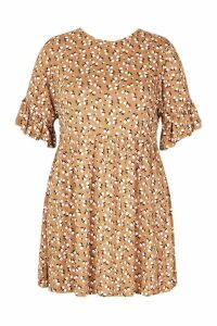 Womens Plus Ditsy Floral Smock Dress - brown - 20, Brown