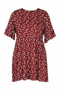 Womens Plus Ditsy Floral Smock Dress - red - 20, Red