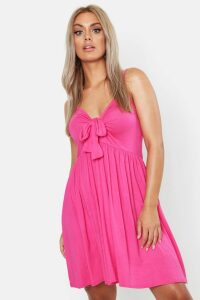 Womens Plus Strappy Knot Front Swing Dress - pink - 20, Pink