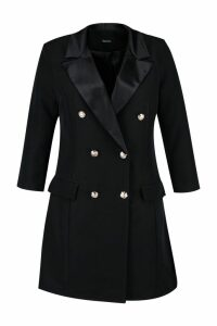 Womens Plus Button Tuxedo Dress - black - 20, Black