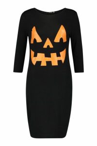 Womens Pumpkin Print Halloween Bodycon Dress - black - 14, Black