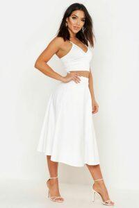Womens Basic Plain Full Circle Midi Skirt - white - 16, White