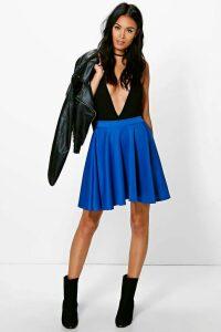 Womens Basic Scuba Skater Skirt - blue - 12, Blue
