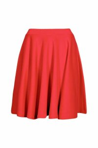 Womens Basic Scuba Skater Skirt - red - 6, Red