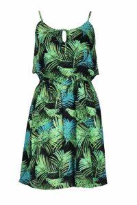 Womens Woven Palm Print Strappy Sundress - green - M, Green