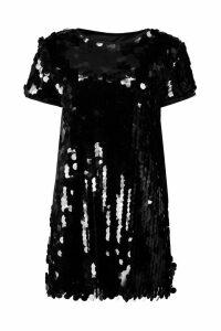 Womens Boutique Disc Sequin Cap Sleeve Shift Dress - black - 8, Black