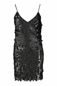 Womens Rivinda Disc Sequin Slip Dress - black - 14, Black