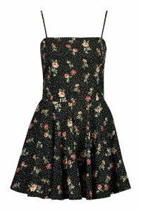 Womens Woven Floral Square Neck Skater Dress - black - 14, Black
