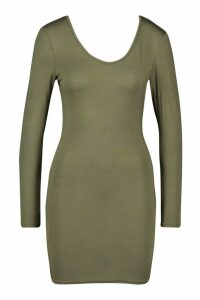 Womens Petite Basic Long Sleeve Scoop Back Dress - green - 14, Green