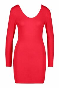 Womens Petite Basic Long Sleeve Scoop Back Dress - red - 14, Red