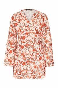 Womens Petite Woven Tonal Floral Print Frill Wrap Dress - beige - 14, Beige