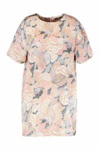 Womens Plus Satin Floral Shift Dress - Pink - 24, Pink