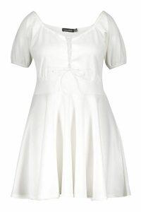 Womens Plus Lace Up Detail Skater Dress - white - 16, White