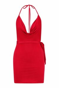 Womens Petite Cowl Neck Tie Waist Mini Dress - red - 14, Red