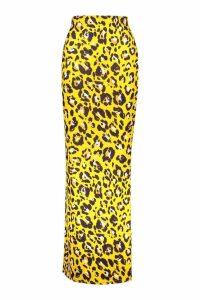 Womens Tall Leopard Print Maxi Skirt - orange - 8, Orange