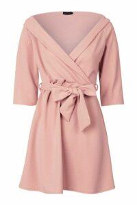 Womens Tie Waist Slight Off Shoulder Shirt Dress - pink - 10, Pink