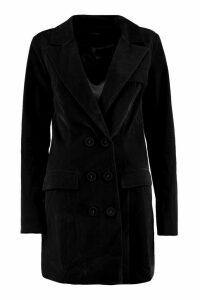 Womens Velvet Double Breasted Blazer Tux Dress - black - 14, Black