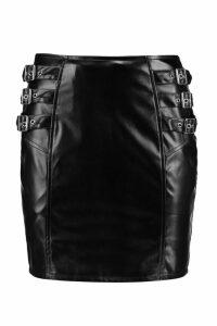Womens Buckle Side Leather Look Mini Skirt - black - 16, Black