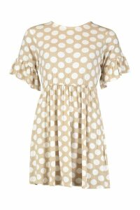 Womens Spot Print Smock Dress - brown - 8, Brown