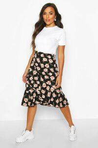 Womens Petite Floral Print Ruffle Midi Skirt - black - 14, Black
