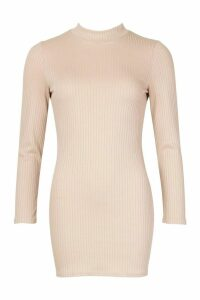 Womens Petite Jumbo Rib High Neck Bodycon Dress - beige - 14, Beige