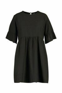 Womens Plus Woven Frill Sleeve Smock Dress - black - 20, Black