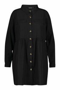 Womens Plus Button Through Smock Shirt Dress - black - 20, Black