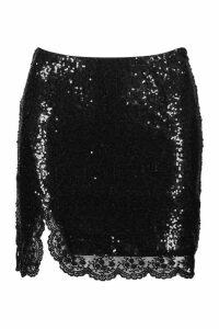 Womens Petite Sequin Lace Split Mini Skirt - black - 14, Black