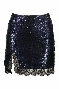 Womens Petite Sequin Lace Split Mini Skirt - navy - 14, Navy