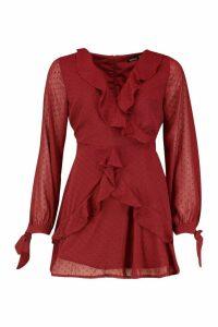 Womens Petite Long Sleeve Dobby Mesh Ruffle Dress - red - 14, Red