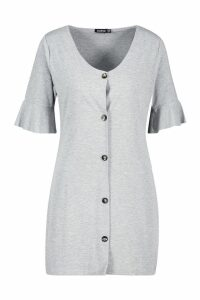 Womens Petite Button Down V-Neck Smock Dress - grey - 12, Grey