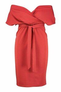 Womens Plus Off The Shoulder Wrap Midi Dress - orange - 18, Orange