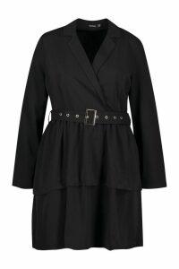 Womens Plus Ruffle Self Belt Blazer Dress - black - 20, Black