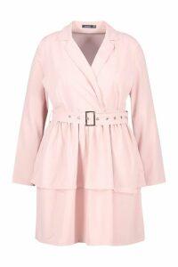 Womens Plus Ruffle Self Belt Blazer Dress - pink - 22, Pink