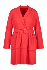 Womens Plus Ruffle Self Belt Blazer Dress - red - 18, Red