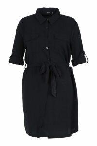 Womens Plus Utility Tie Front Woven Shirt Dress - black - 16, Black