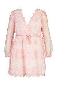 Womens Plus Lace Plunge Skater Dress - pink - 24, Pink