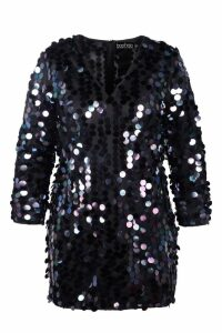 Womens Plus Sequin Shift Dress - navy - 24, Navy