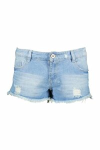 Womens Tall Bleached Wash Denim Shorts - blue - 12, Blue