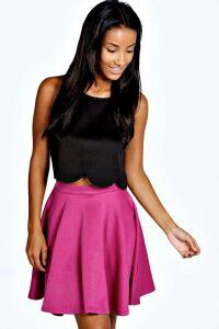 Womens Basic Scuba Skater Skirt - pink - 10, Pink