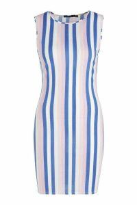 Womens Multi Stripe Mini Dress - navy - 10, Navy