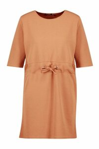 Womens Gathered Eyelet Waist Mini Dress - beige - 12, Beige