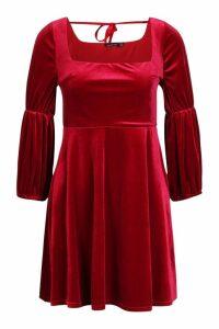 Womens Velvet Double Puff Sleeve Skater Dress - red - 16, Red