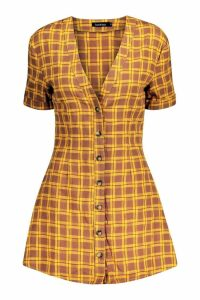 Womens 90's Check Horn Button Shift Dress - yellow - 10, Yellow