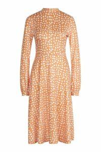 Womens High Neck Long Sleeve Dalmatian Print Midi Dress - yellow - 14, Yellow