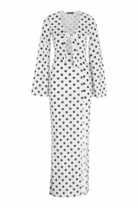 Womens Tie Front Thigh Split Maxi Dress - white - 12, White
