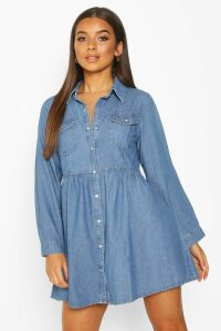 Womens Long Sleeve Denim Shirt Dress - blue - 14, Blue